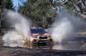 Subaru do Motorsport's Molly Taylor and Bill Hayes in action at the 2016 Lightforce Rally SA.