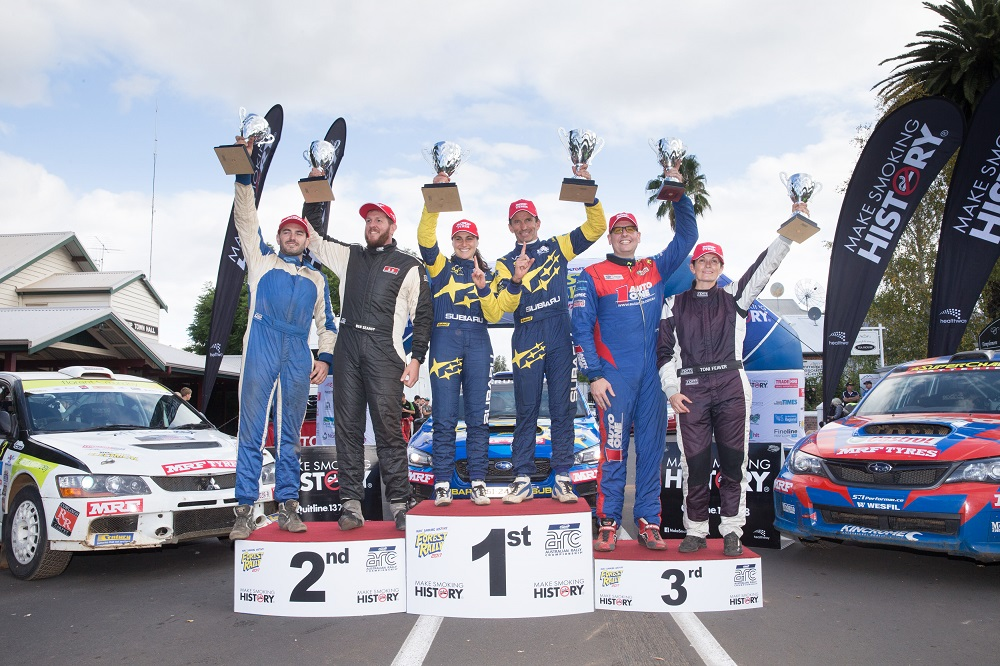 2017 Forest Rally podium: Subaru do Motorsport's Molly Taylor and Bill Hayes, winners of the 2017 Forest Rally. Nathan Quinn and David Calder in second and Brad Markovic and Toni Feaver in third.