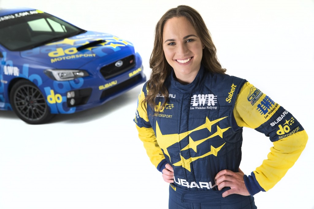 Subaru do motorsport driver Molly Taylor with the NR4 WRX STI rally car.